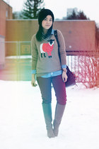 camel Old Navy sweater - brown Aldo boots - brick red Joe Fresh jeans