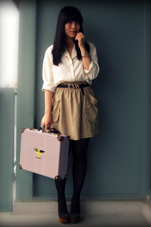 ivory blouse - dark khaki H&amp;M skirt - olive green Jeffrey Campbell shoes - gray 