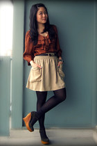 dark brown H&M blouse - dark khaki H&M skirt - army green Jeffrey Campbell wedge