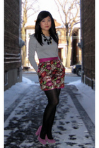 gray Zara top - red Forever 21 skirt - black HUE tights - black necklace - purpl