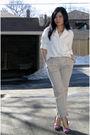 White-blouse-beige-h-m-pants-purple-nine-west-shoes-gold-costa-blanca-neck