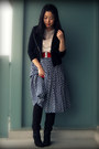 Black-nine-west-boots-black-forever-21-jacket-blue-skirt-white-forever-21-