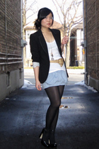 black Zara blazer - white Forever 21 top - blue Silence & Noise skirt - black Al