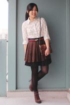 ivory choiescom blouse - dark brown Luxury Rebel boots - bronze Mango bag