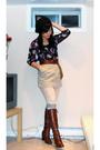 Black-h-m-via-thrift-town-blouse-beige-jacob-skirt-brown-topshop-belt-brow