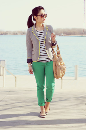 heather gray Gap blazer - nude Cole Haan bag - dark brown Aldo sunglasses