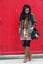 yellow Urban Outfitters skirt - brown Aldo boots - olive green Forever 21 jacket