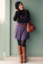 brown Aldo boots - deep purple Old Navy dress - black H&M hat