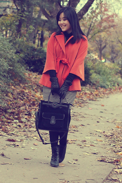 black lace up Call it Spring boots - black suede Oasapcom bag - black gloves