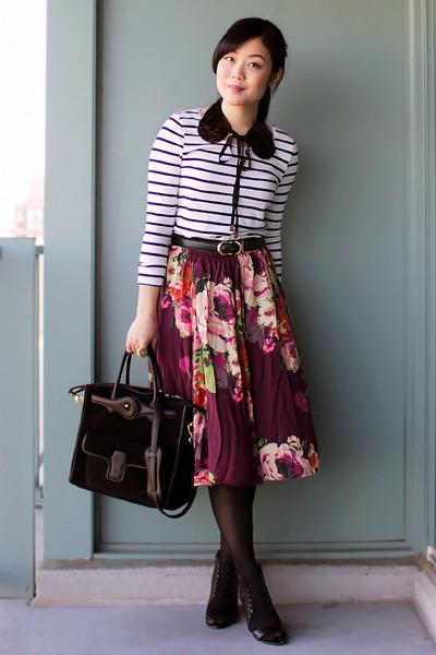 maroon floral print Old Navy skirt - black Aldo boots - black Oasapcom bag