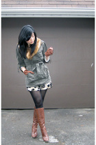 green Forever 21 jacket - gold Forever 21 skirt - brown Tommy Hilfiger boots - b