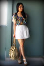 Green-h-m-blouse-white-urban-outfitters-skirt-white-forever-21-shoes-beige