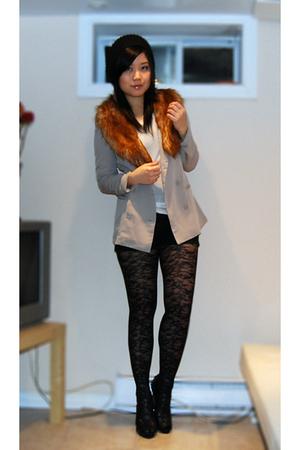 orange H&M scarf - black BCBGgirls shoes - beige Urban Outfitters blazer