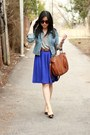 Light-brown-yeswalker-shoes-light-blue-h-m-jacket-brown-michael-kors-bag