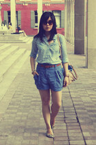 blue H&M shorts - light blue gingham Old Navy shirt - tan H&M bag