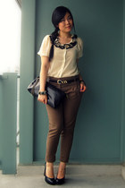 off white Forever 21 blouse - black Payless bag - dark khaki Zara pants