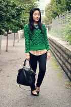 green Joe Fresh sweater - black Parasuco jeans jeans - black coach bag