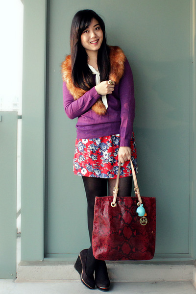 ruby red Urban Outfitters skirt - purple joe fresh style sweater