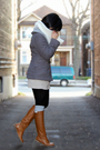 Gray-tulle-jacket-white-h-m-scarf-beige-jacob-skirt-black-sirens-leggings-