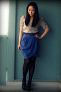 Beige-urban-outfitters-blouse-blue-forever-21-skirt-brown-h-m-belt-black-h