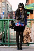 deep purple Old Navy shirt - black Spring boots - camel Zara coat