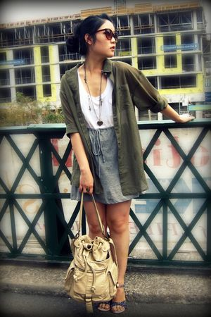 green H&M blouse - gray Forever 21 dress - beige Urban Outfitters bag - blue H&M