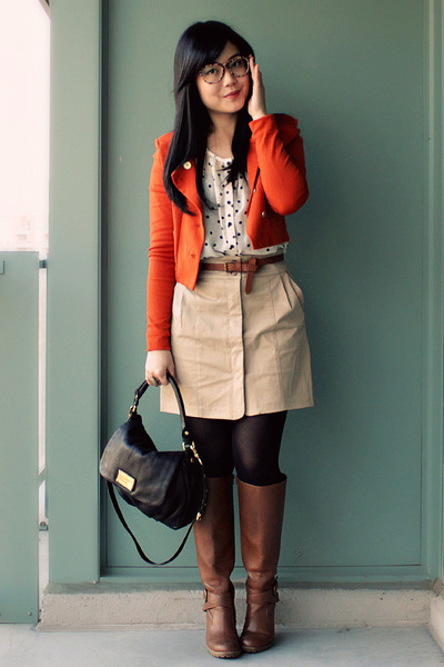 H&M blazer - Aldo boots - H&M blouse - Marc by Marc Jacobs belt