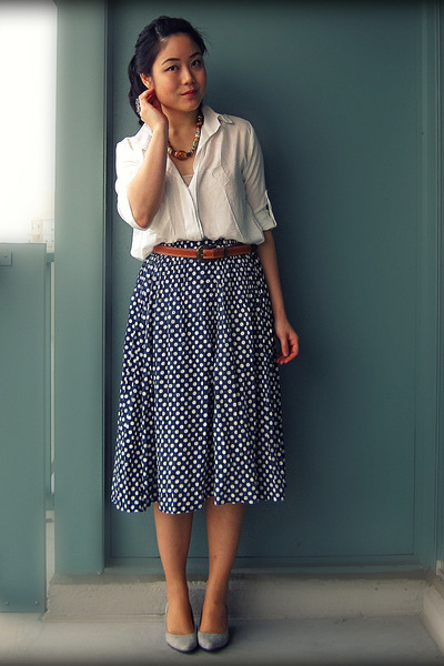 silver Aldo heels - tawny Topshop necklace - blue from indonesia skirt