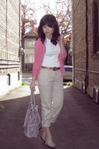 pink H&M cardigan - white Old Navy t-shirt - beige H&M pants - beige Aldo shoes