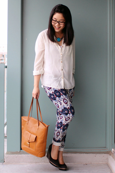 jeans - brown H&M bag - ivory H&M blouse - black H&M wedges