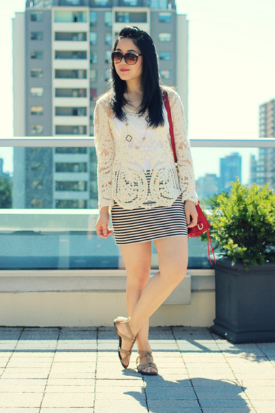 off white crochet OASAP top - ruby red Rebecca Minkoff bag - striped H&M skirt