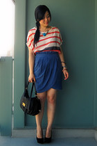 Forever 21 skirt - Marc by Marc Jacobs bag - Forever 21 necklace - romwe blouse