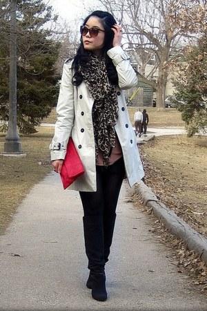 black striped H&M blazer - black suede Nine West boots - tan New York & Co dress