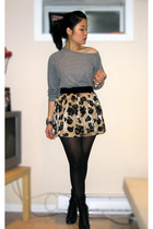 gray American Apparel sweater - gold Forever 21 skirt - black Aldo boots - gold