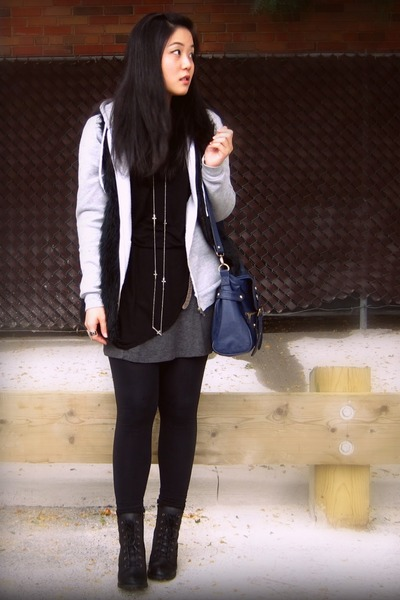 gray Talula jacket - black Forever 21 vest - black Purple Label dress - black Sp