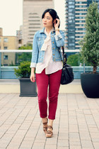light blue denim H&M jacket - black Marc by Marc Jacobs bag