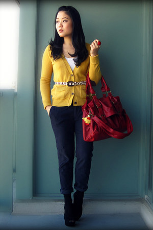 red Urban Outfitters bag - mustard Zara cardigan - navy Zara pants - black Aldo 