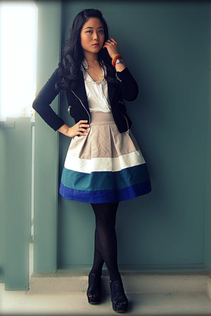 black Forever 21 jacket - tan multicolored Zara skirt - white Romwecom blouse -