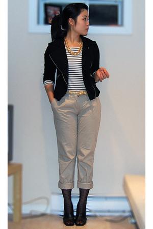 black Forever 21 jacket - white H&M top - beige H&M pants - black H&M stockings