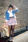 Blue-h-m-jacket-white-blouse-pink-zara-skirt-black-h-m-stockings-white-f