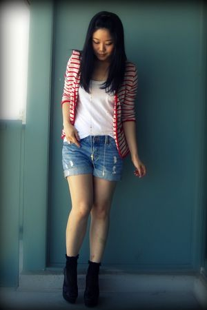 red Urban Outfitters blazer - white Forever 21 top - blue H&M shorts - gold Fore