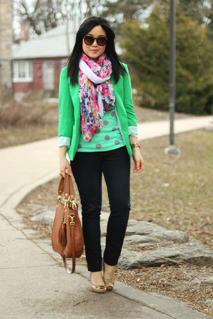 green polkadot Old Navy sweater - navy Seven7 jeans - green Vero Moda blazer
