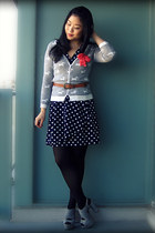 navy H&M dress - brown vintage belt - heather gray cardigan - silver Aldo heels