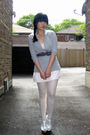 Gray-silence-noise-blazer-pink-h-m-garden-collection-dress-white-ardene-ti