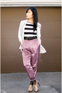 Gray-urban-outfitters-blazer-forever-21-top-purple-urban-outfitters-pants-