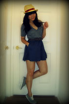 gray American Apparel t-shirt - blue Silence & Noise skirt - gray Spring shoes -