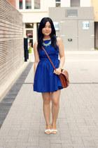 aquamarine Oasapcom necklace - blue American Apparel dress - brown vintage bag