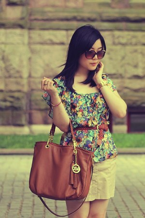 green H&M blouse - brown Michael Kors bag - dark brown Aldo sunglasses