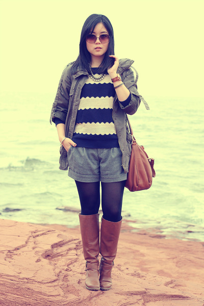 navy Forever 21 sweater - brown Aldo boots - army green Forever 21 jacket