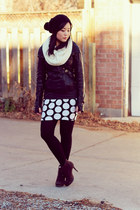 polkadot skirt - dark brown lace up Luxury Rebel boots - black beanie H&M hat